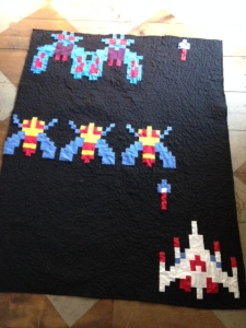 Galaga Quilt!!! *electronic shooting noises*