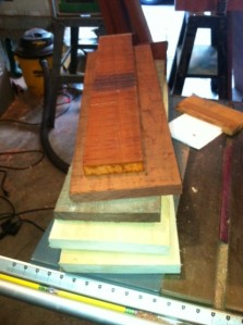 This is (top to bottom) padauk, bloodwood, walnut, and sycamore
