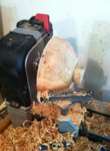 All roughed out and the tenon is cut into the bottom for mounting in my bowl chuck.  Now it gets fun!
